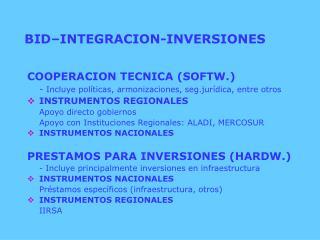 BID–INTEGRACION-INVERSIONES