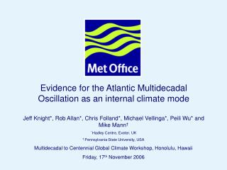 Evidence for the Atlantic Multidecadal Oscillation as an internal climate mode