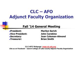 CLC � AFO Adjunct Faculty Organization