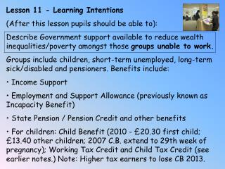 Lesson 11 - Learning Intentions (After this lesson pupils should be able to):