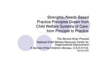 The Service Array Process National Child Welfare Resource Center for Organizational Improvement