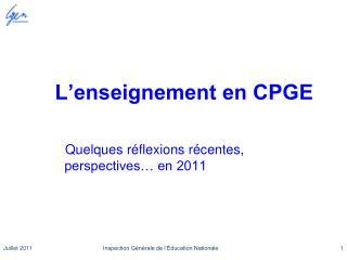 L'enseignement en CPGE