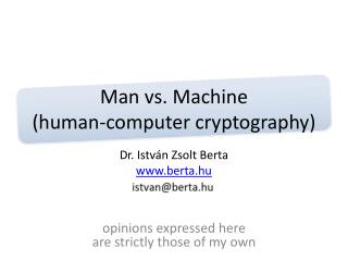 Man vs. Machine (human-computer cryptography)