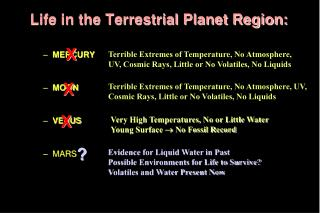 Life in the Terrestrial Planet Region: