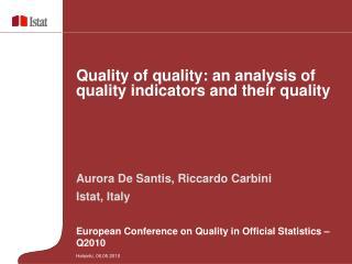 Aurora De Santis, Riccardo Carbini  Istat, Italy