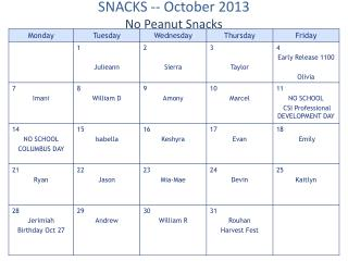 SNACKS --  October  2013 No Peanut Snacks
