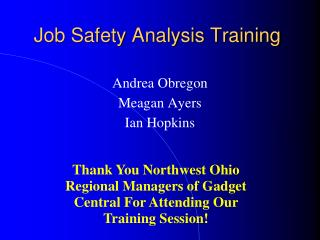 Job Safety Analysis Training