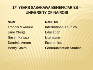 1 ST  YEARS SASAKAWA BENEFICIARIES – UNIVERSITY OF NAIROBI NAME 			            MASTERS