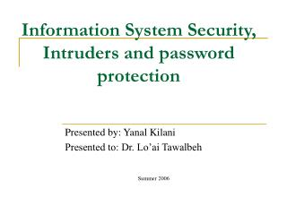 Information System Security, Intruders and password protection