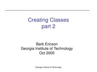Creating Classes part 2