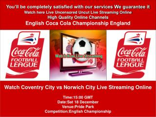 Coventry City vs Norwich City LIVE STREAM ONLINE TV