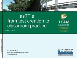 AsTTle - from test creation to classroom practice