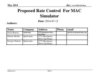Proposed Rate Control  For MAC  Simulator