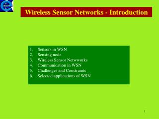 Wireless Sensor Networks - Introduction