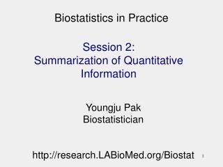 Biostatistics in Practice