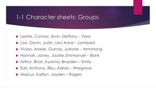 1-1 Character sheets: Groups