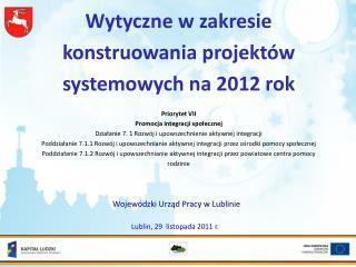 Wytyczne w zakresie konstruowania projektów systemowych na 2012 rok Priorytet VII