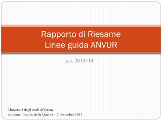 Rapporto di Riesame Linee guida ANVUR