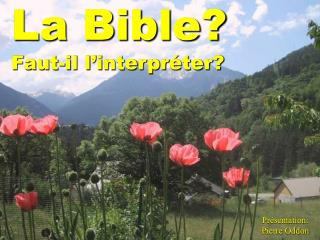 La Bible? Faut-il l'interpréter?