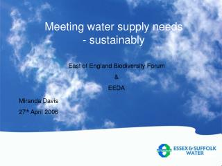 Meeting water supply needs - sustainably