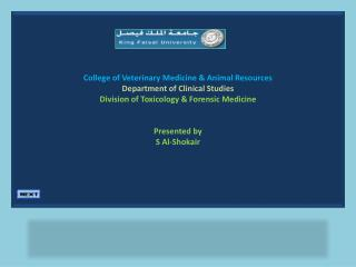 College of Veterinary Medicine & Animal Resources Department of Clinical Studies