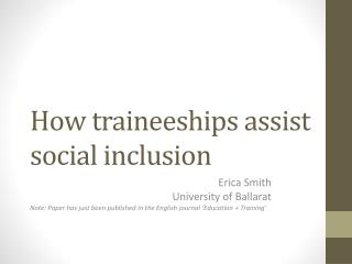 How traineeships assist social inclusion