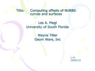 Title:     Computing offsets of NURBS curves and surfaces