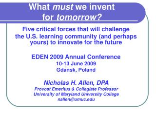 What  must  we invent  for  tomorrow?