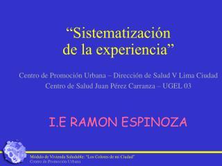 """""""Sistematización  de la experiencia"""" Centro de Promoción Urbana – Dirección de Salud V Lima Ciudad"""