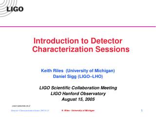 Introduction to Detector Characterization Sessions Keith Riles  (University of Michigan)