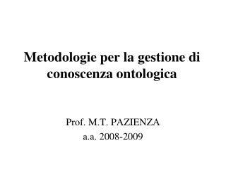 Metodologie per la gestione di conoscenza ontologica