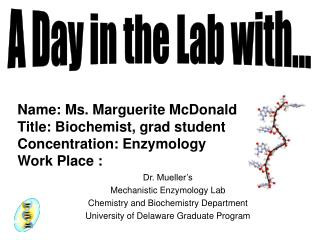 Dr. Mueller's  Mechanistic Enzymology Lab Chemistry and Biochemistry Department