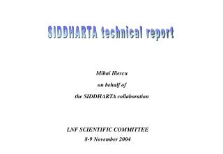 SIDDHARTA technical report