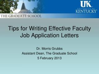 Tips for Writing Effective Faculty  Job Application Letters