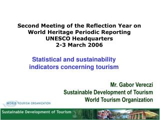 Statistical and sustainability indicators concerning tourism