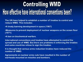 Controlling WMD