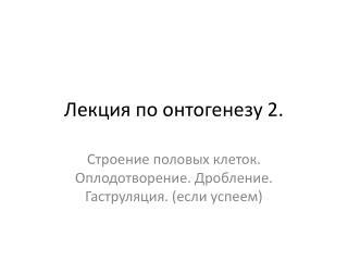 Лекция по онтогенезу 2.