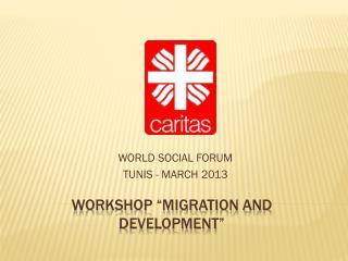 "WORKSHOP ""MIGRATION AND DEVELOPMENT"" CARITAS INTERNACIONALIS"