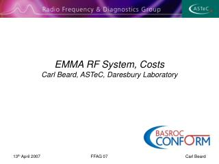 EMMA RF System, Costs  Carl Beard, ASTeC, Daresbury Laboratory