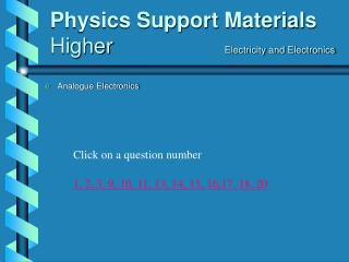 Physics Support Materials Higher      Electricity and Electronics
