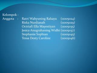 Kelompok  :  Anggota    : Ratri Wahyuning Rahayu (11005024) Riska Nurdianah (11005029)