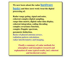 Radar System Design and Data Processing