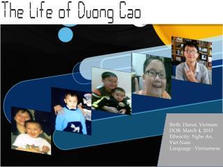 Birth: Hanoi, Vietnam DOB: March 4, 2013 Ethnicity:  Nghe  An, Viet Nam Language : Vietnamese