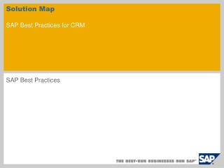 Solution Map SAP Best Practices for CRM