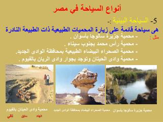 أنواع السياحة في مصر