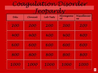 Coagulation Disorder Jeopardy