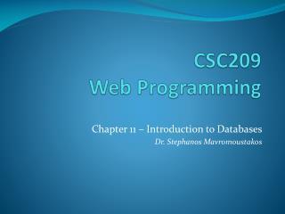 CSC209  Web Programming
