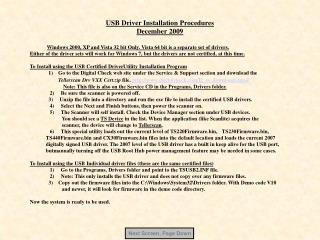 USB Driver Installation Procedures December 2009