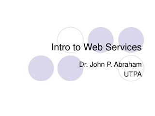 Intro to Web Services