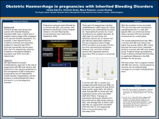 Obstetric Haemorrhage in pregnancies with Inherited Bleeding Disorders